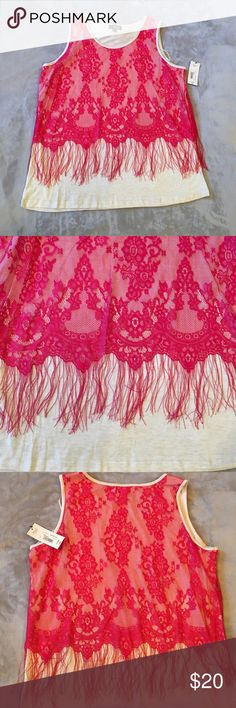 NWT🎉 Lace Top! Hot pink lace over cream color with fringes!! Still has tags!!! a.n.a Tops