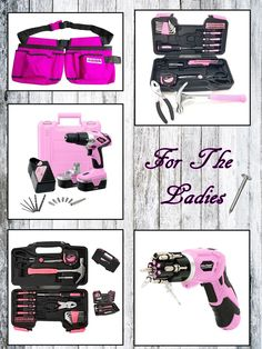 PINK tool sets and power tools for women. PINK cordless drills - PINK household tool sets - PINK tool belts and accessories.