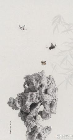《寻花山》是《太湖石》系列的总结。从长卷的形式上看,古人已经做得非常完善了,对我自己而言,要想赋予新意,还是要从空间入手。我设想当你打开长卷的时候,眼前的景物便有近焦和远焦的区别,移步换景。三个石头、三头鹿、三棵树、九只蝴蝶,其实是三生万物,九九归一。背景也全部剔除掉,通过物体间的关系去表达空间。这似乎提示了某种新的可能性。