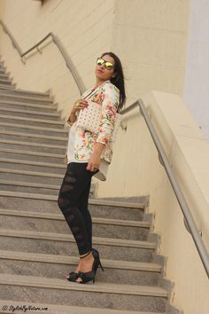 Stylish By Nature | India Fashion Style blog | Beauty | Street Style | Trends | Food | Travel: Floral Blazer and Mirror Sunglasses
