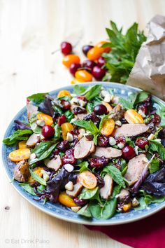 Warm Duck & Balsamic Cherry Salad  Sensational salad of pan fried duck and balsamic cherries with mint and Brazil nuts - gluten-free, paleo, nourishing, clean eating. Click for recipe: http://eatdrinkpaleo.com.au/paleo-duck-salad-with-balsamic-cherries-recipe/