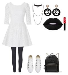 """""""Black and white)"""" by lovekikk ❤ liked on Polyvore featuring Lilly Pulitzer, Converse, Gucci, Chanel and Lime Crime"""