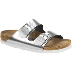 Birkenstock Unisex's Arizona Soft Footbed Metallic Silver Leather... ($135) ❤ liked on Polyvore featuring shoes, sandals, silver, arch support sandals, strap sandals, strappy leather sandals, breathable shoes and silver metallic sandals