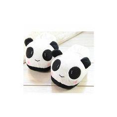 Women And Men Cotton Sweet Indoor Panda Slippers ($6.68) ❤ liked on Polyvore featuring shoes, slippers and home shoes
