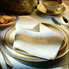 Monogram napkin fold: If you were lucky enough to inherit a set of monogrammed napkins or even find a set at a flea market, this fold gives you the chance to show it off