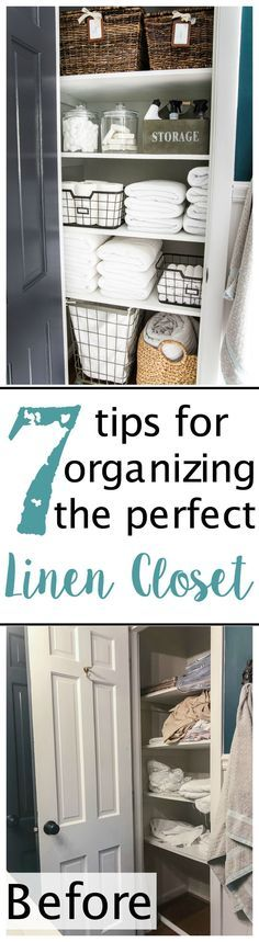 Linen Closet Organization Makeover   blesserhouse.com - 7 tips for perfect linen closet organization for the best ways to sort sheets, keep cleaning supplies handy, make laundry easier, and have guest amenities in easy reach. #organizing #linencloset