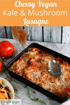 This yummy and cheesy vegan lasagne is full of veggies, but everyone will LOVE it! With smokey cheese and kale that has been roasted for a rich flavour, your guests and family will all love this lasagne. Best of all? It is perfect for making ahead of time and serving up to a crowd! #vegan #dinner #lunch #lasagne #kale #recipe #mushroom #vegancheese #cheese #italian