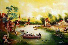 FERRY BOAT 1622 lienzo 50x40cm. Inspirado de un pintor holandés. $4000.000 pesos