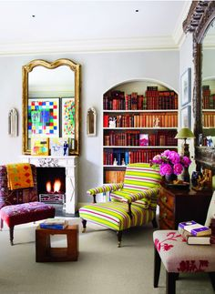 Quirky and colorful bohemian-style sitting room.