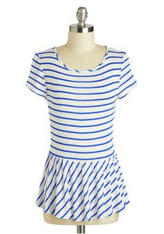 New Girl Courage Top in Blue Stripes, #ModCloth