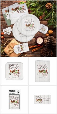 The central element for this collection is a beautiful Christmas design that has a downhome, country look featuring an arrangement of leaves, walnut shells and berries and hand written typography of 'Joy, Peace and Love'. A background with the appearance of whitewashed wood completes rustic the look. Many of the products include a template to easily add your name or other text to customize for gifting or personal use. Diy Christmas Gifts For Boyfriend, Christmas Gifts For Friends, Homemade Christmas Gifts, Boyfriend Gifts, Christmas Swags, Christmas Design, Paper Dinner Napkins, Walnut Shell, Merry And Bright