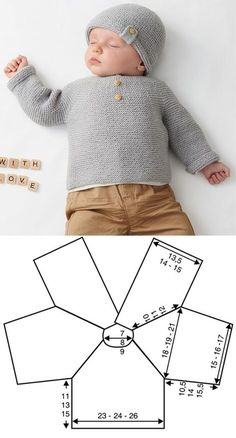 Diy Crafts - babyclothes,crochet-Gray Sweater with Decorative Buttons newborn babyclothes crochet knitting freepattern crochetpattern Newborn Crochet Patterns, Easy Knitting Patterns, Knitting For Kids, Baby Knitting, Baby Sweater Knitting Pattern, Crochet Baby Cardigan, Booties Crochet, Baby Booties, Tricot Facile