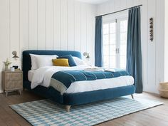 Hands up if you'd rather be here right now! Our NEW Cookie bed is good enough to eat. And this squish machine is compact too so it won't dominate bite-size bedrooms. Teal Headboard, Teal Bedding, Bedding Master Bedroom, Blue Bedroom, Bedroom Colors, Bedroom Decor, Comfy Sofa, Upholstered Beds, My New Room