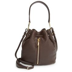 Elizabeth and James 'Mini Cynnie' Bucket Bag (24,315 MKD) ❤ liked on Polyvore featuring bags, handbags, shoulder bags, espresso, studded handbags, mini bucket bag, mini purse, brown handbags and studded bucket bag