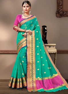 Sea Green Weaving Mehndi Designer Contemporary Saree