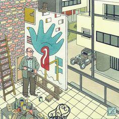 """Le Corbusier in """"En Toen De Stijl"""" by Joost Swarte"""