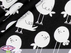 Baumwollstoff Spassvögel- schwarz von Stick and Style auf DaWanda.com