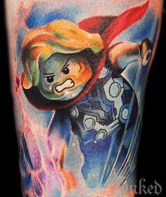 Lego Thor by Max Pniewski #InkedMagazine #thor #lego #hero #tattoo #tattoos