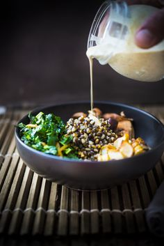 Roasted sunchoke and barley bowl. How GOOD is this?! Why had I never tasted sunchokes before??