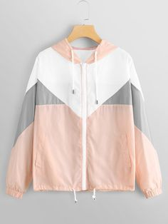 Shop Cut And Sew Panel Windbreaker Hooded Jacket online. SHEIN offers Cut And Sew Panel Windbreaker Hooded Jacket & more to fit your fashionable needs. Cute Casual Outfits, Pretty Outfits, Teenager Outfits, Girl Outfits, Girls Fashion Clothes, Fashion Outfits, Womens Fashion, Moda Outfits, Trendy Hoodies