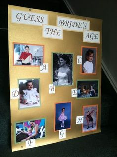 Guess The Bride's Age allows bridal shower guests to reflect on the past. See m… Guess The Bride's Age allows bridal shower guests to reflect on the past. See more fun bridal shower games and party ideas at www. Fun Bridal Shower Games, Bridal Games, Bridal Shower Party, Bridal Shower Decorations, Bridal Showers, Lingerie Shower Games, Bridal Parties, Ideas For Bridal Shower, Couples Wedding Shower Games
