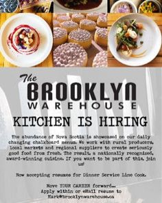 @brooklynHalifax is HIRING a Line Cook - Dinner . Full Time 40 - 50 Hours/Week 5 Days Per Week  Hourly Wage @ $12.00 . MUST have 2 - 3 Years Experience . Skills: -knowledgeable on basic cooking skills and recipes -maintain the cleanliness safety and availability of the ingredients in the kitchen -knowledge of food safety -ability to prepare cook and plate new menu items on a daily basis -responsible for all prep & dishes that are prepared in their section -organized and comfortable working…