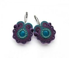 Turquoise and Purple Earrings Soutache Earring Violet Earrings Turquoise Earring Turquoise Jewelry Soutache Embroidery Soutache Embroidered Soutache Necklace, Bead Earrings, Soutache Tutorial, Best Friend Jewelry, Turquoise And Purple, Women Jewelry, Unique Jewelry, Turquoise Earrings, Jewelry Crafts