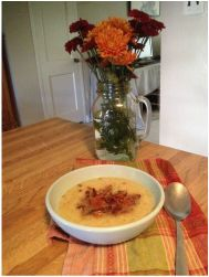 Ideal Protein Phase 1 recipes: Cauliflower- Leek soup topped with real bacon pieces, yum!