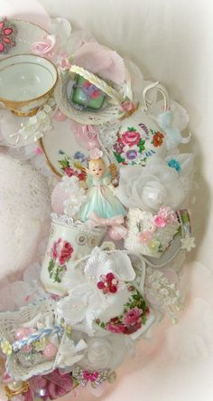 Your place to buy and sell all things handmade Shabby Chic Crafts, Vintage Crafts, Shabby Chic Decor, Tea Cup Display, Teacup Crafts, China Crafts, Vintage Wreath, Bone Crafts, Tea Party Decorations