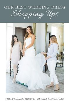 While shopping for your wedding dress can be stressful at times, it's also one of the most fun parts of wedding planning. These are some of our best wedding dress shopping tips to ensure you have an easy, enjoyable day of shopping. Wedding Gowns With Sleeves, Custom Wedding Dress, Best Wedding Dresses, Bridesmaid Dresses, Wedding Shoppe, Wedding Dress Shopping, Casual Wedding, Shopping Hacks, Wedding Pins