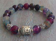 Buddha Bracelet, Gemstone Beads, Boho Jewelry, Boho Chic, Bohemian Bracelet, Buddha Bead, Buddha Bracelet on Etsy