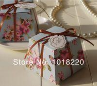 50pcs Flor azul noiva noivo Flor do casamento do teste caixa dos doces / DIY Favor Embalagem Box (Incluir Tape)