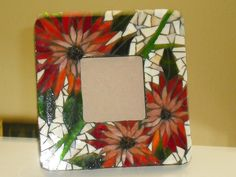 https://flic.kr/p/7e5j8y | Red/peach mum | Beautiful stained glass mosaic picture frame.  Wood base. Overall size is 8in x 8in and picture size is 3.5in x 3.5in. Free standing or it could be hung flush on the wall.  FOR SALE $45.00 FREE SHIPPING.