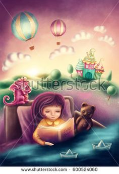 Illustration of a little girl reading a book