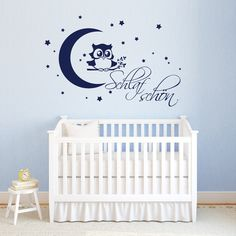 """Wandtattoo """"Schlaf schön"""" Eule auf einem Ast mit einem Mond und Sternen  Mit diesem Angebot erhalten Sie das Wandtattoo in der Größe:   *S 20 x 29 cm* (wenn aufgeklebt wie..."""
