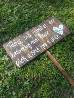 Today Two Families Are Becoming One, Please Pick a Seat Not a Side - Sign for Wedding - CUSTOM, PERSONALIZED, WEDDING seating sign on Etsy, $23.00