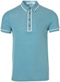 TOPMAN TURQUOISE TIP POLO T-SHIRT