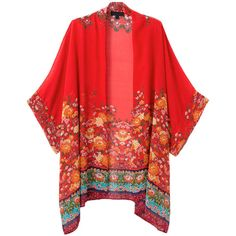 Red Floral Batwing Sleeve Kimono Coat (99 MYR) ❤ liked on Polyvore featuring outerwear, coats, red coat, floral print coat, floral kimono, red kimono and kimono coat