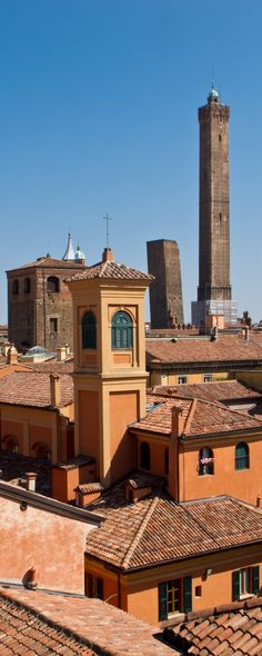 Bologna - Overview of the roofs, Torri degli Asinelli and Garisenda. Province of bologna Emilia Romagna region Italy Turin, Wonderful Places, Beautiful Places, Rome, Places To Travel, Places To Go, Italy Pictures, Bologna Italy, Places In Italy