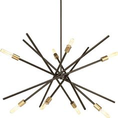 Progress Lighting Astra Antique Bronze Modern/Contemporary Shaded Chandelier at Lowe's. An iconic fixture, Astra features an organic, asymmetrical design. Ideal for dining room settings or entryways, these space-aged inspired pieces are so Mid Century Modern Chandelier, Industrial Chandelier, Linear Chandelier, Sputnik Chandelier, Contemporary Chandelier, Chandelier Shades, Chandelier Lighting, Modern Contemporary, House Lighting