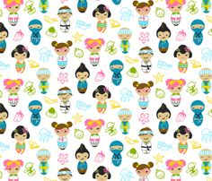 Japanese Dolls fabric by cherii on Spoonflower - custom fabric