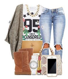 """8:2:14"" by codeineweeknds ❤ liked on Polyvore featuring UGG Australia, MICHAEL Michael Kors, Estée Lauder, Wildfox, DKNY, Monki and Squair"