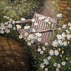 ✮ ✮ ✮ this would be a great place to sit in the garden surrounded by the flowers Backyard Retreat, Outdoor Chairs, Outdoor Decor, Cottage Interiors, Dutch Artists, Outdoor Projects, Country Decor, Wild Flowers, Art Flowers