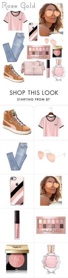 """Summer gold"" by ashrose224 ❤ liked on Polyvore featuring Puma, Full Tilt, Casetify, Quay, Laura Mercier, Maybelline, Bobbi Brown Cosmetics, Oscar de la Renta and Kipling"