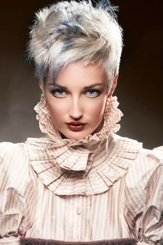 White and Blue Spiked up Pixie Cut