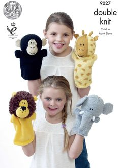 Knitted animal Hand Puppets - King Cole Knitted toys