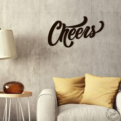 """Our words 'CHEERS' metal sign is a modern and stylish wall art piece. It is perfect for decorating your home, or like an original gift!Made of quality 1 mm steel, that you can choose to spray paint in your favourite color or make a polished metal. Includes drilled holes to hang. *****FREE EXPRESS Shipping in USA & Europe! (DHL max. 3-5 days)*****• Height 28 cm x Horizontal width 50 cm or 11,"""" x 19,7""""If you would like your own size please let us know.DETAILS• laser cut• quality 1 mm steel •… Decorative Panels, Metal Wall Art, Decorating Your Home, Favorite Color, Cheer, Art Pieces, Wall Decor, Words, Home Decor"""