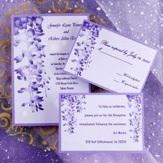 free Unique Wedding Invitations templates to print | Unique purple garden wedding invitations EWI007