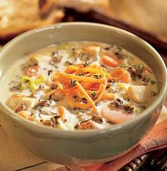 This creamy main dish soup is quick to prepare. Just put the ingredients in a pot and let it simmer.