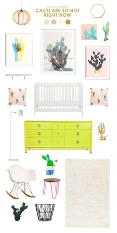 I think all the cacti popping up everywhere are so cute. Makes for a fun baby room, I think! How cute is that cactus sculpture, and that vintage brass …
